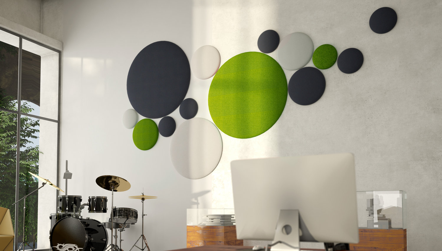 woolbubbles panneau acoustique ludique d coratif. Black Bedroom Furniture Sets. Home Design Ideas